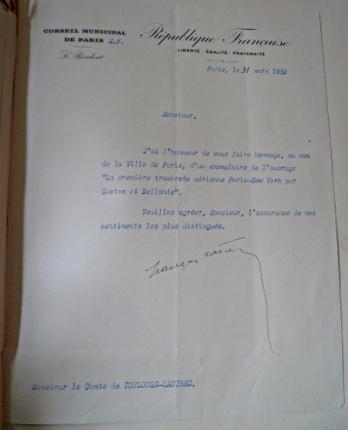 Lettre de la ville de Paris au Comte de Toulouse Lautrec