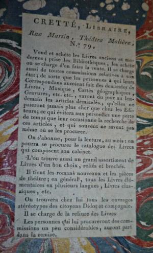 Annonce collée à la fin d'un livre imprimé en 1778 par un libraire soucieux de la bonne marche de ses affaires