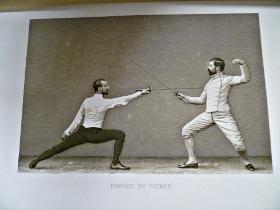 Parade de Tierce : héliogravure dans l'escrime et le duel par Prévost et Jolliver 1891