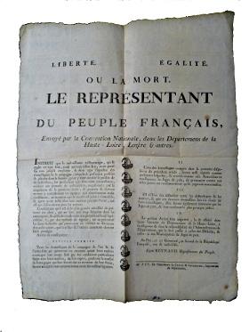 Liberté égalité ou la mort Placard de l'an II