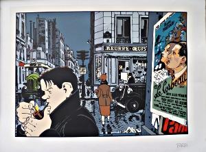 Sérigraphie signée Tardi : derrière Léo Malet l'affiche du Corbeau de Henri-Georges Clouzot.