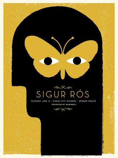 Affiche Sigur Ros par Tad Carpenter : 48x64 cm : 35 euros. Tirage 200 ex.