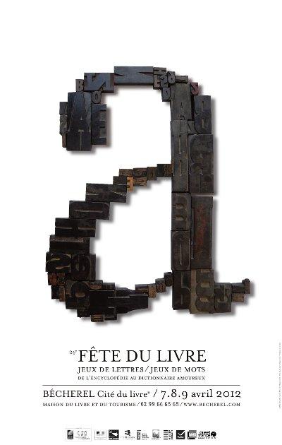 Affiche de la fête du livre 2012 à Bécherel les 7,8 et 9 avril 2012