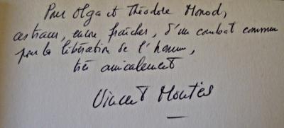 Envoi de Vincent Montes à Olga et Theodore Monod
