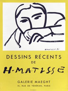 Dessins récents, 1952, affiche imprimée en technique lithographique par Mourlot, pour la Galerie Maeght, Paris.