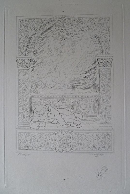 """Gravure de Rochgrosse pour """"Le Puits de Saint-Claire"""" d'Anatole France tirage en noir avec remarque"""