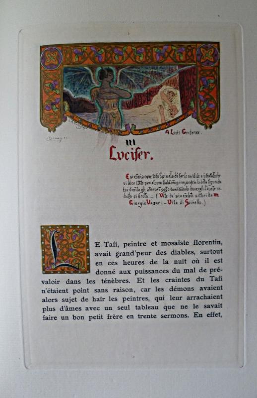 """Page avec tête de chapitre et lettrine du """"Puits de Sainte-Claire"""" illustré par Rochegrosse"""