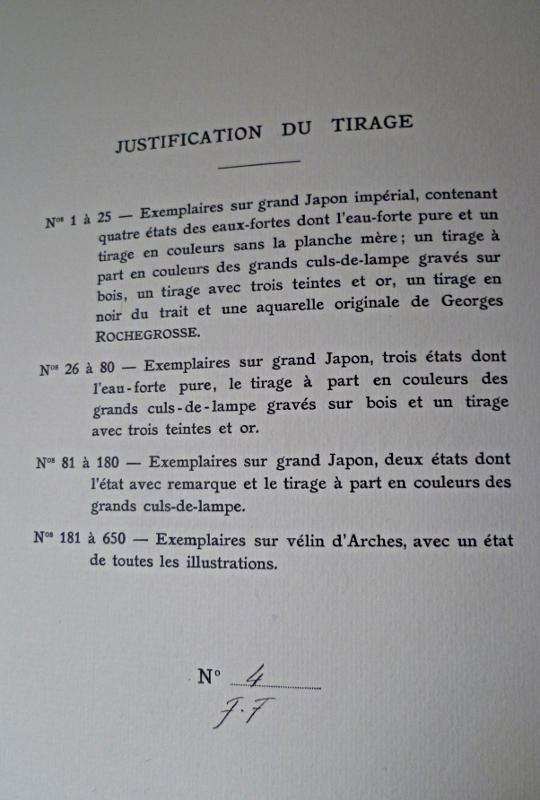 """Justification du tirage pour notre exemplaire du """"Puits de Saint-Claire"""" illustré par Rochegrosse"""