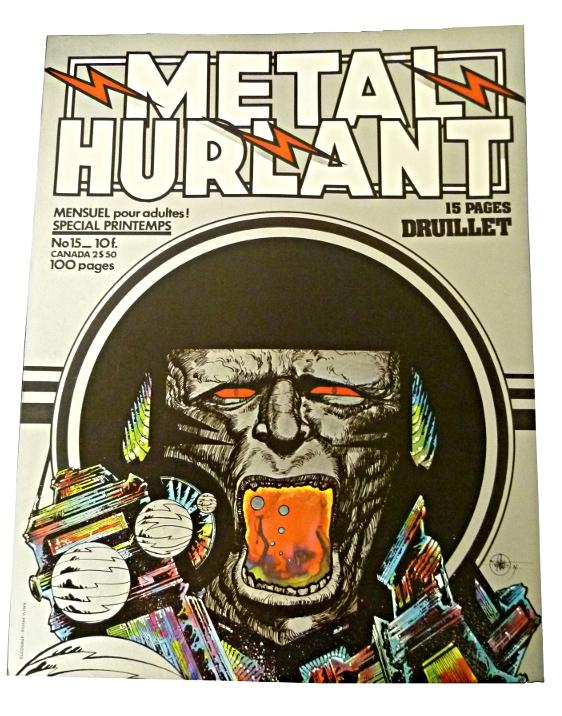 Affichette de Kiosque pour la revue Métal-Hurlant dessinée par Druillet.