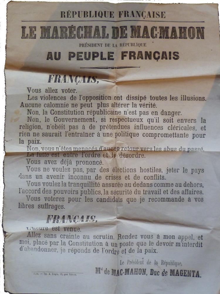 Placard du Maréchal Mac Mahon du 12 octobre 1877 Français vous aller voter.