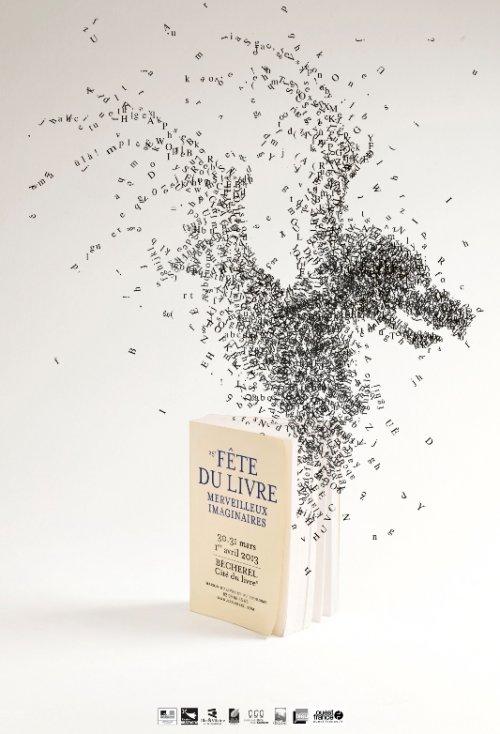 Affiche de la fête du livre 2013 merveilleux imaginaires