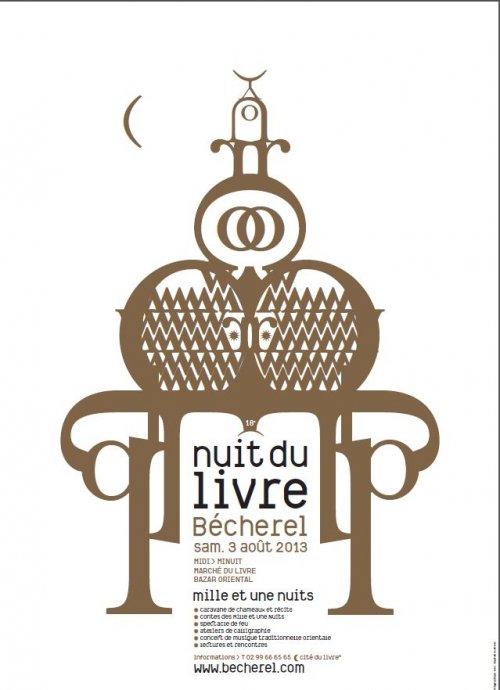 Affiche de la nuite du livre 2013 à Bécherel, cité du livre