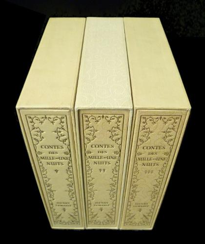"""Coffrets pour """"les mille et nuits"""" aux Heures Claires, illustré par Lemarié."""