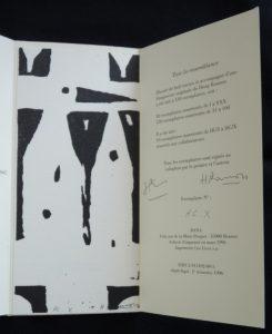 Justificatif de tirage, signature et linogravure