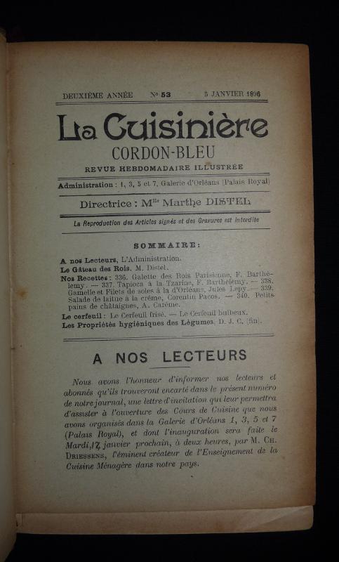 Page de titre de la revue La Cuisinière Cordon Bleu 1896