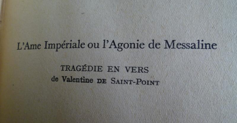 Titre complet pour l'édition de L'âme impériale ou l'Agonie de Messaline imprimée en 1929