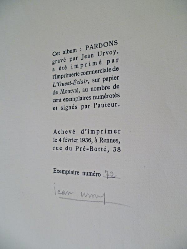 Pardons par Jean Urvoy et Roger Vercel, justification du tirage